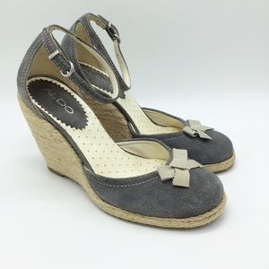 Aldo Gray Espadrille Wedges Size 37 Bow